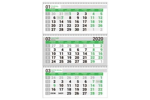 Календарная сетка зеленая